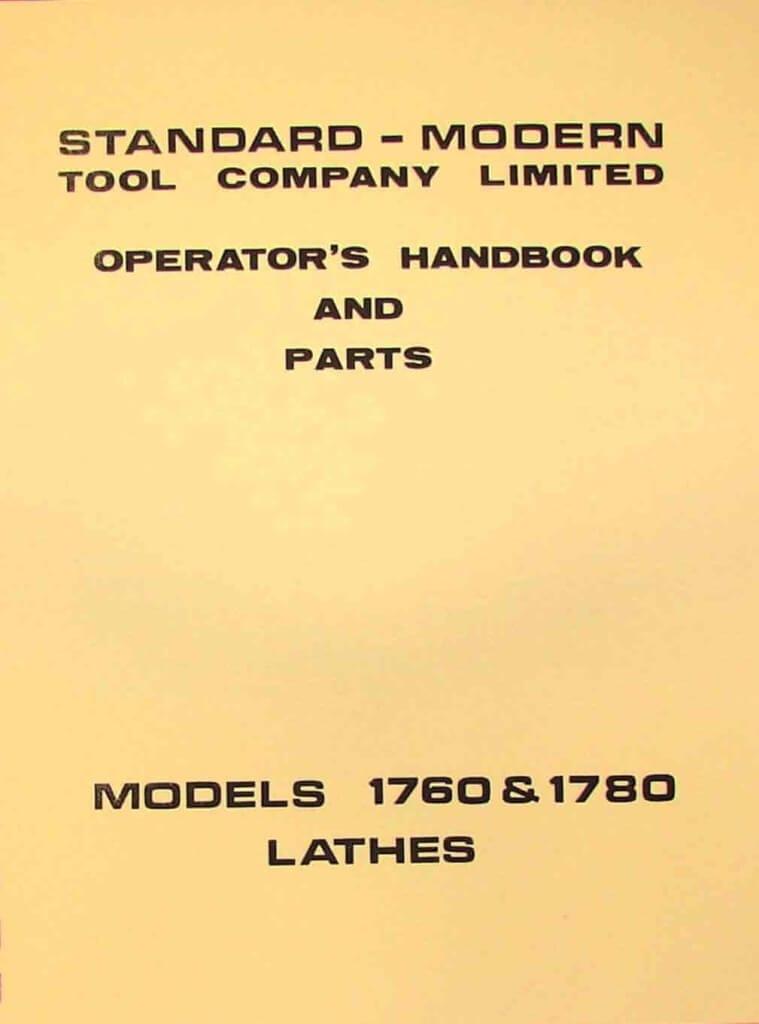 STANDARD-Modern 1760 & 1780 Metal Lathe Operator's & Parts Manual | Ozark Tool Manuals & Books