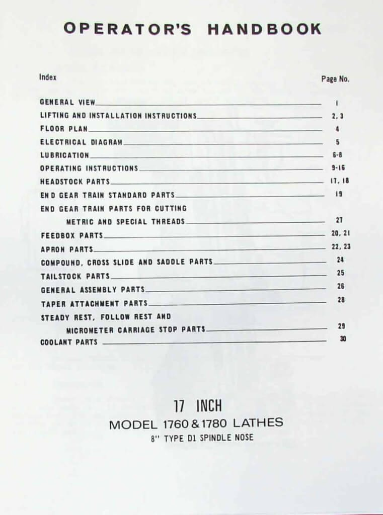 STANDARD-Modern 1760 & 1780 Metal Lathe Operator's & Parts Manual | Ozark Tool Manuals & Books
