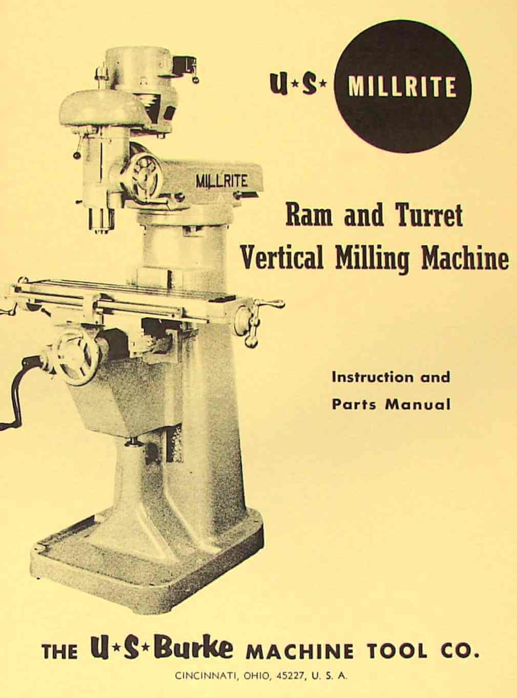 U.S. BURKE Millrite MV-1 Vertical Milling Machine Operator & Parts Manual | Ozark Tool Manuals ...