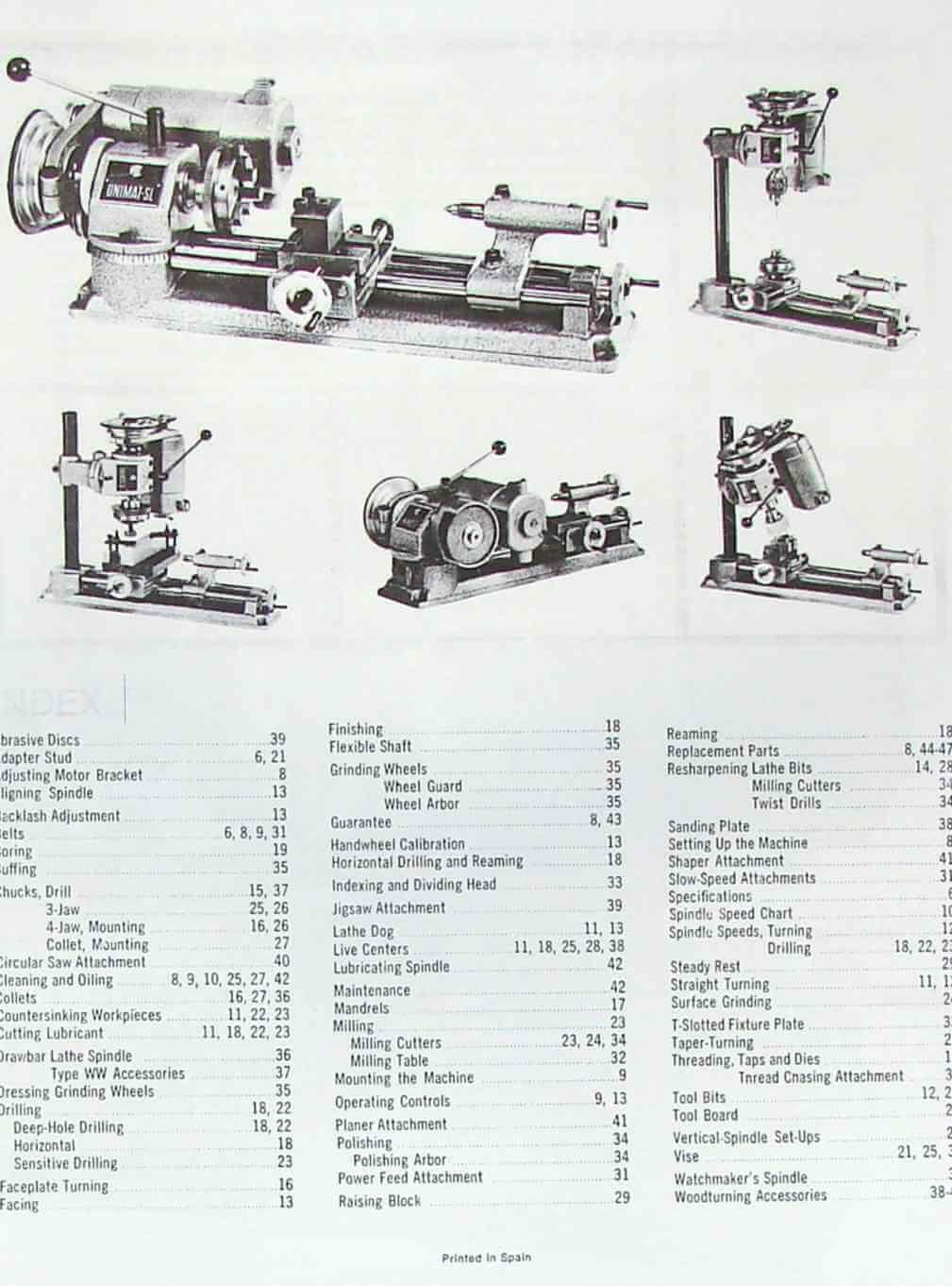UNIMAT-SL Miniature Machine Handbook & Techniques Operator's Manual | Ozark Tool Manuals & Books