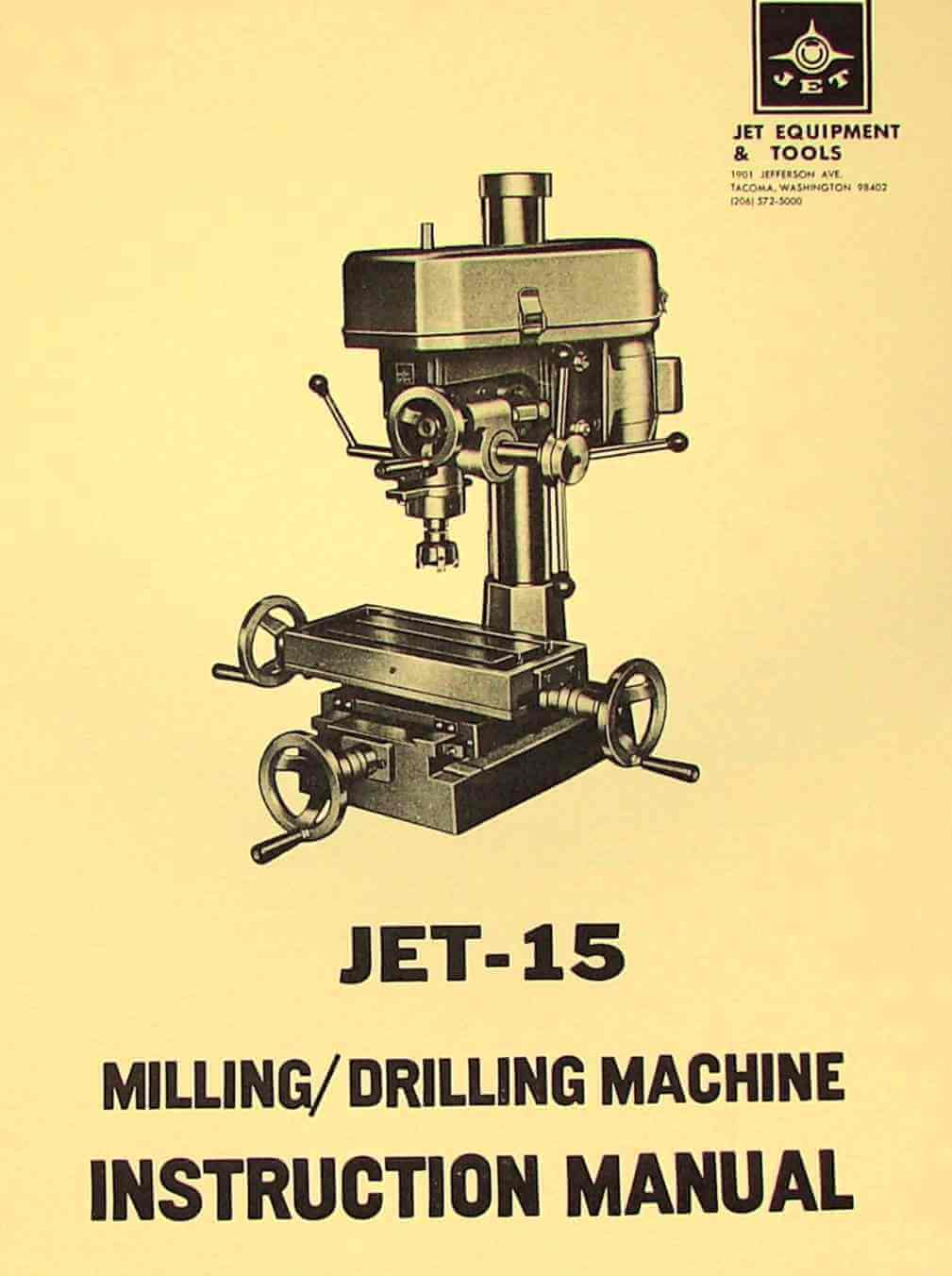 Jet 15 Quot Drill Mill Instructions And Parts Manual Asian