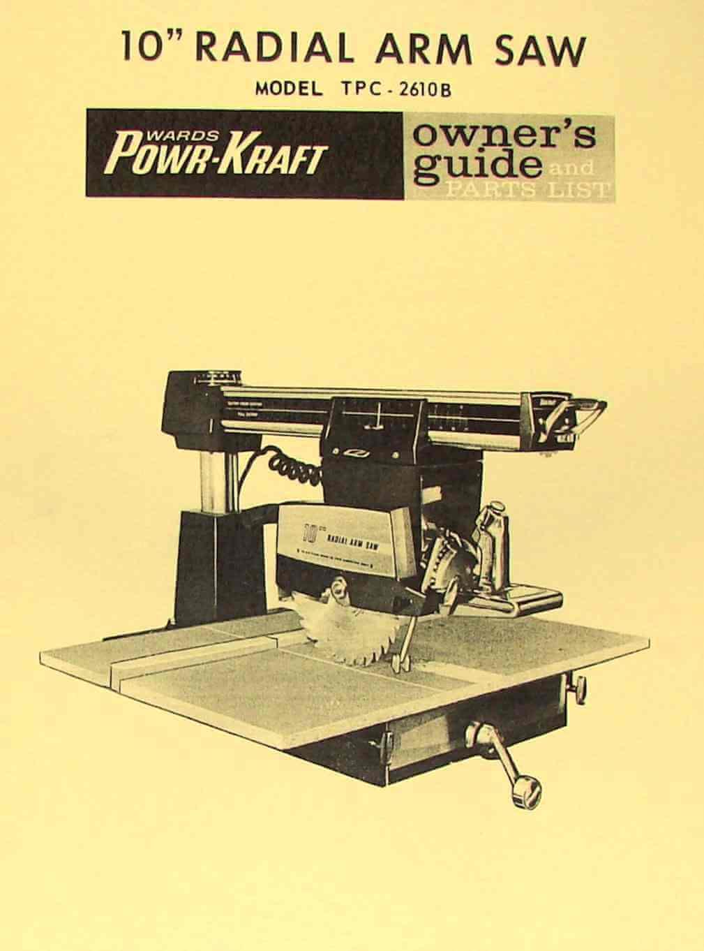 "POWR-KRAFT 10"" Radial Arm Saw TPC-2610B Owner's & Parts Manual   Ozark Tool  Manuals & Books"