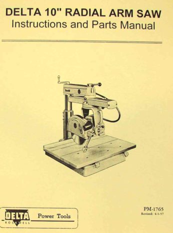 Rockwell Delta 10 Quot Radial Arm Saw Owner S Amp Parts Manual