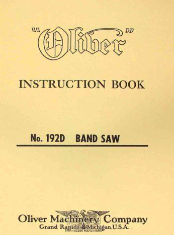 Oliver 192 D 18 Quot Band Saw Operators And Parts Manual