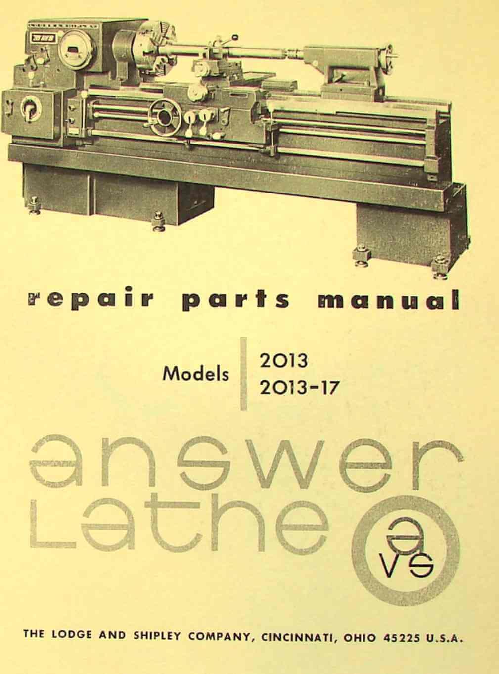 LODGE & SHIPLEY Answer Lathe 2013, 2013-017 Parts Manual | Ozark Tool  Manuals & Books