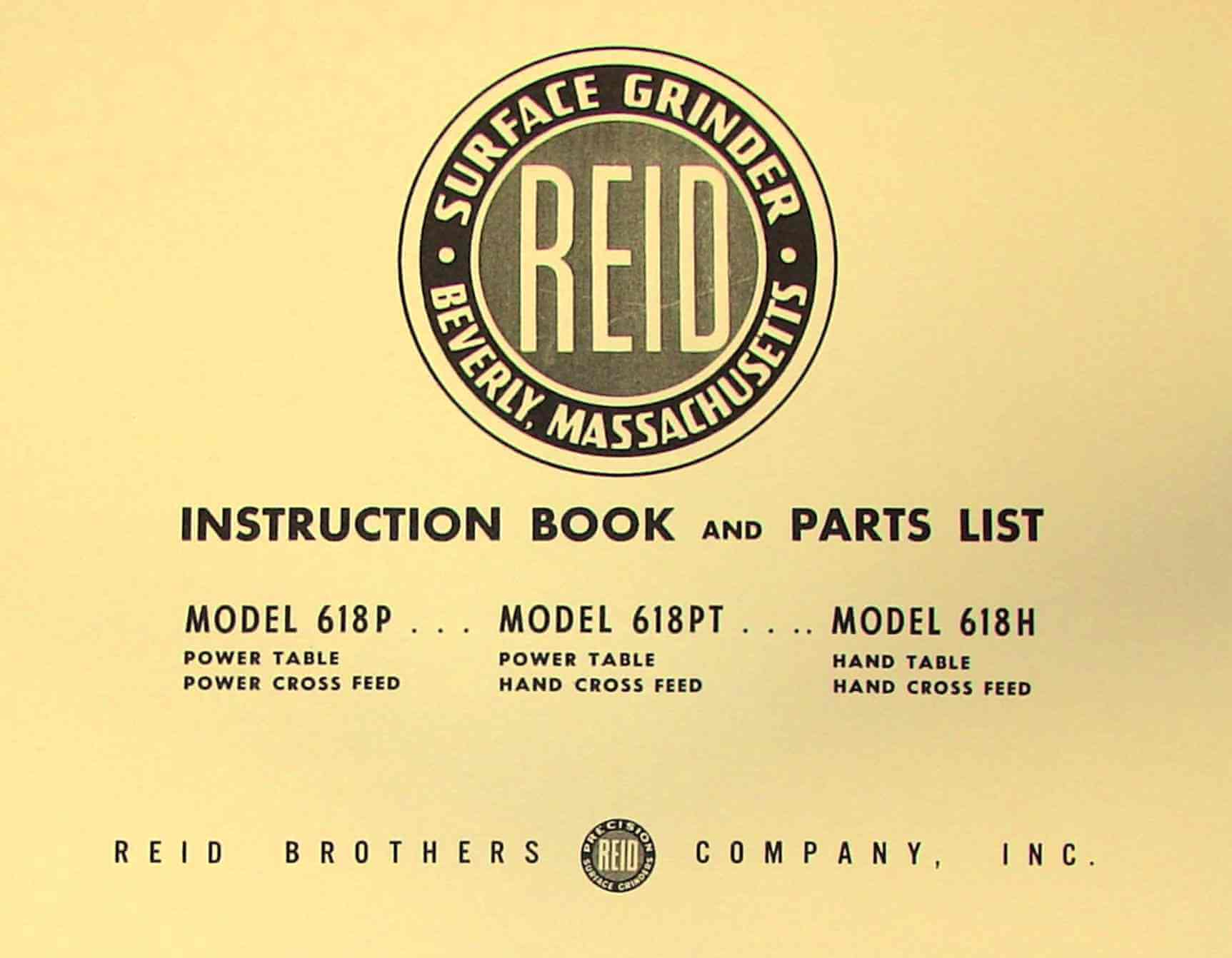 Reid 618p 618pt 618h Surface Grinder Instructions Parts Manual Kysor Cadillac Wiring Diagram Ozark Tool Manuals Books