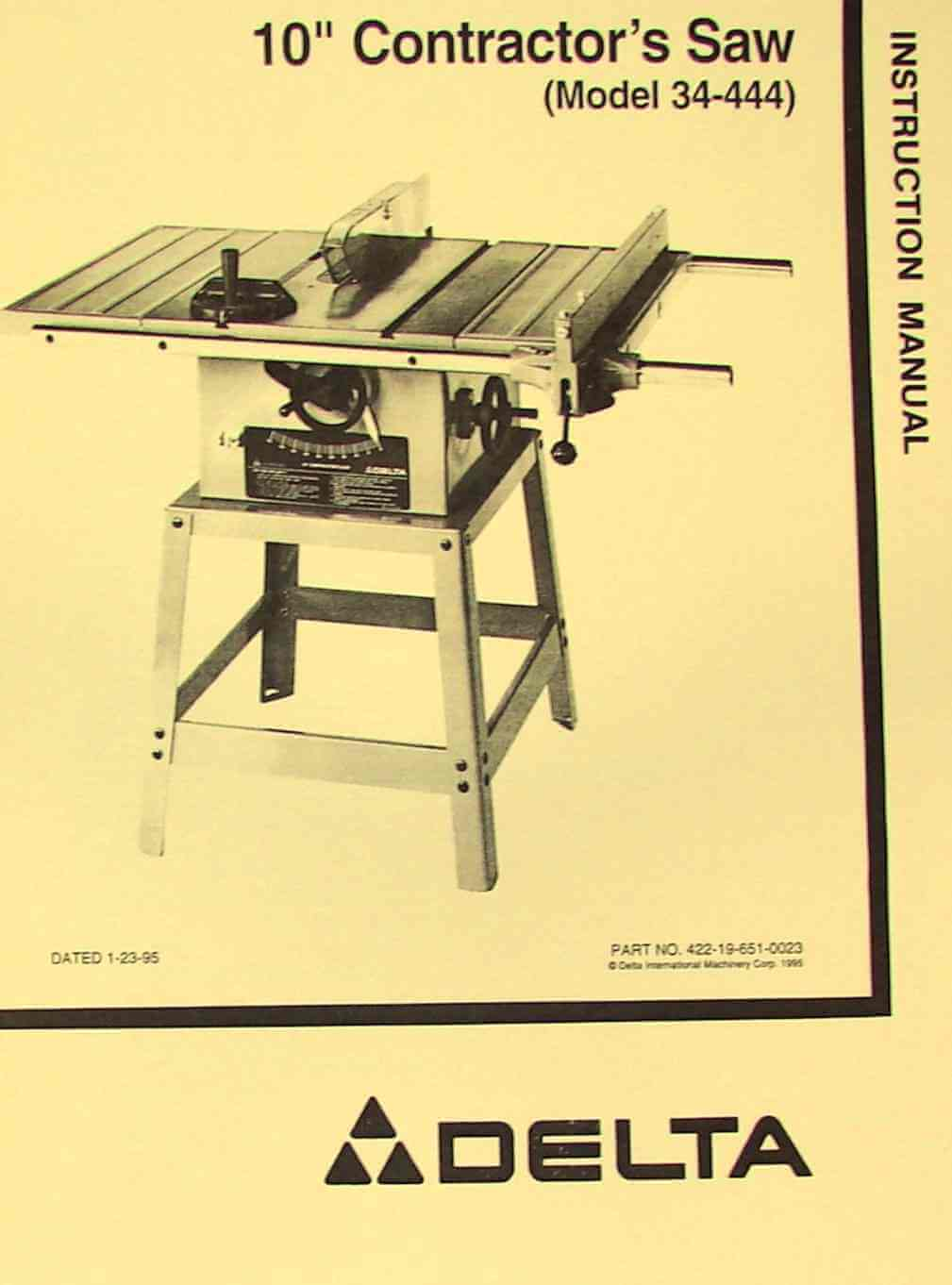 Delta 10 Contractor S Table Saw 34 444 Instructions Parts Manual