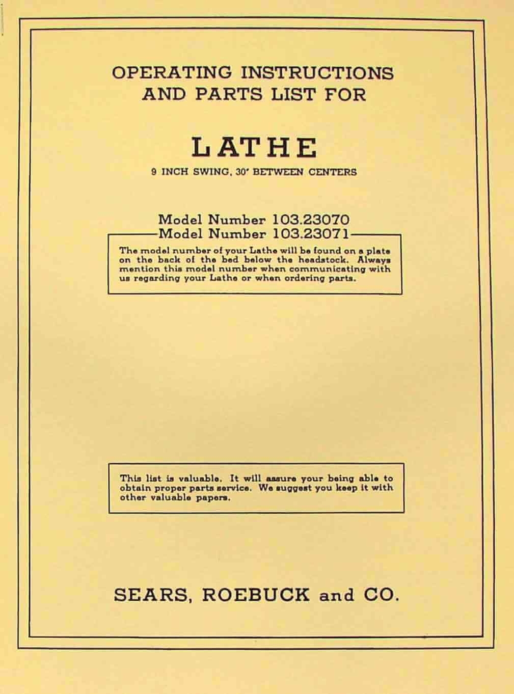 CRAFTSMAN 103.23070 103.23071 Wood Lathe Instructions & Parts Manual |  Ozark Tool Manuals & Books