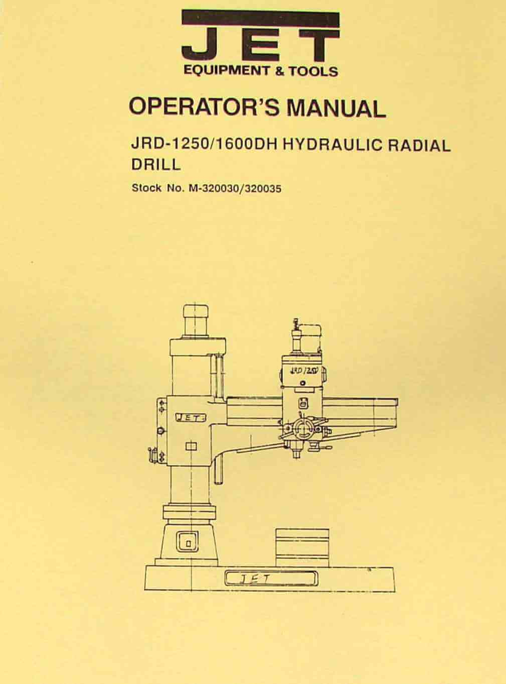 JET-Asian JRD-1250/1600DH Radial Drill Instructions & Parts Manual | Ozark  Tool Manuals & Books
