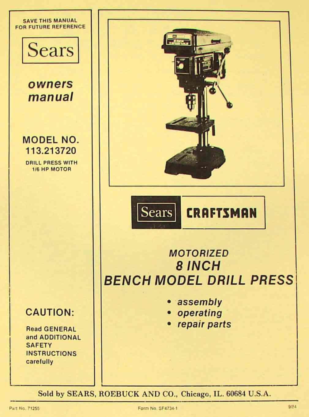 "CRAFTSMAN 113.213720 8"" Bench Drill Press Instructions & Parts Manual | Ozark Tool Manuals & Books"