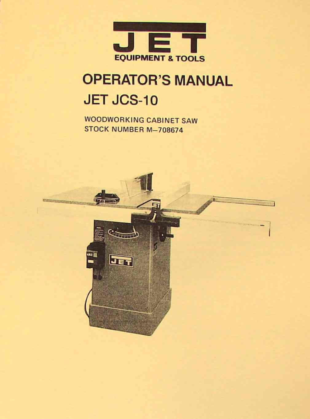 Jet Asian Jcs 10 Model 10 Quot Cabinet Table Saw Operator S