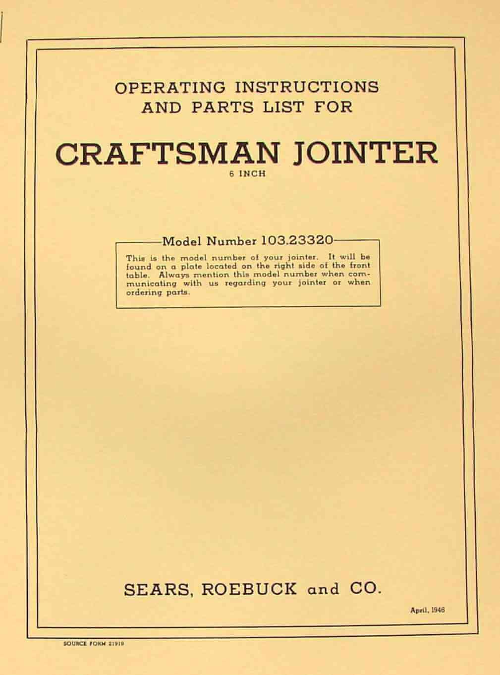 craftsman 6 jointer manual