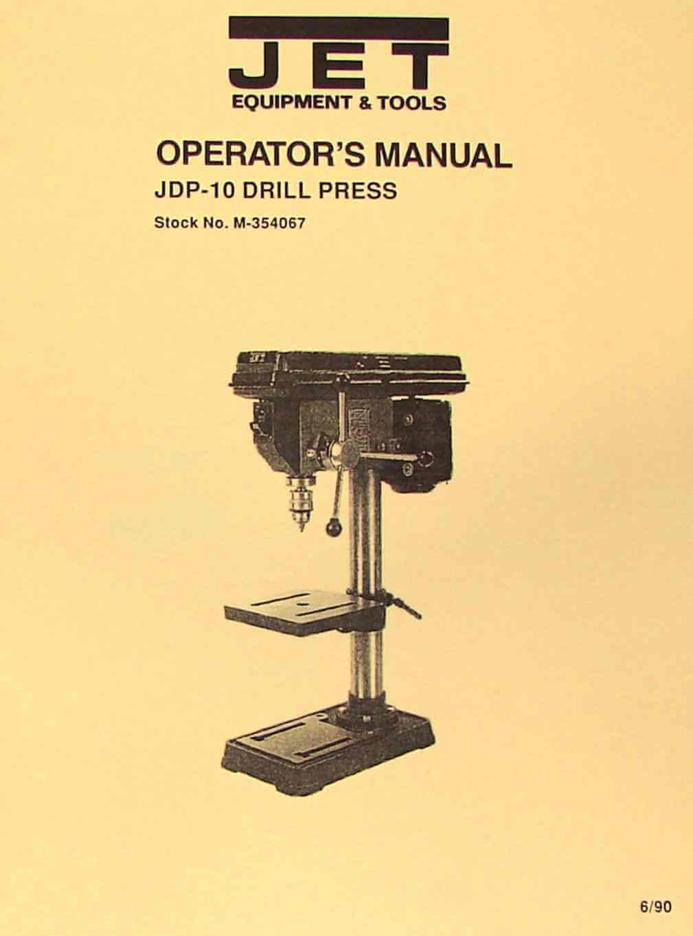 "JET-Asian JDP-10 10"" Drill Press Owner's Operator's & Parts Manual 