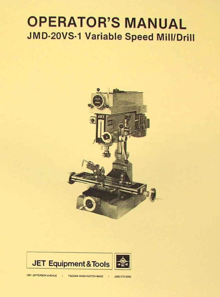 JET-Asian JMD-20VS-1 Drill Milling Machine Operator's & Parts Manual | Ozark Tool Manuals & Books