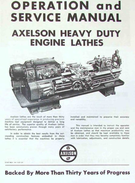 AXELSON 14-16-20-25-32 Heavy Duty Engine Lathes Service & Parts Manual