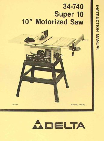 """Delta 34-670 10/"""" Table Saw Instruction Manual"""