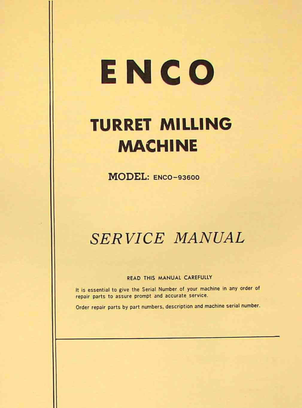ENCO 93600 Vertical Milling Machine Operator's & Parts Manual