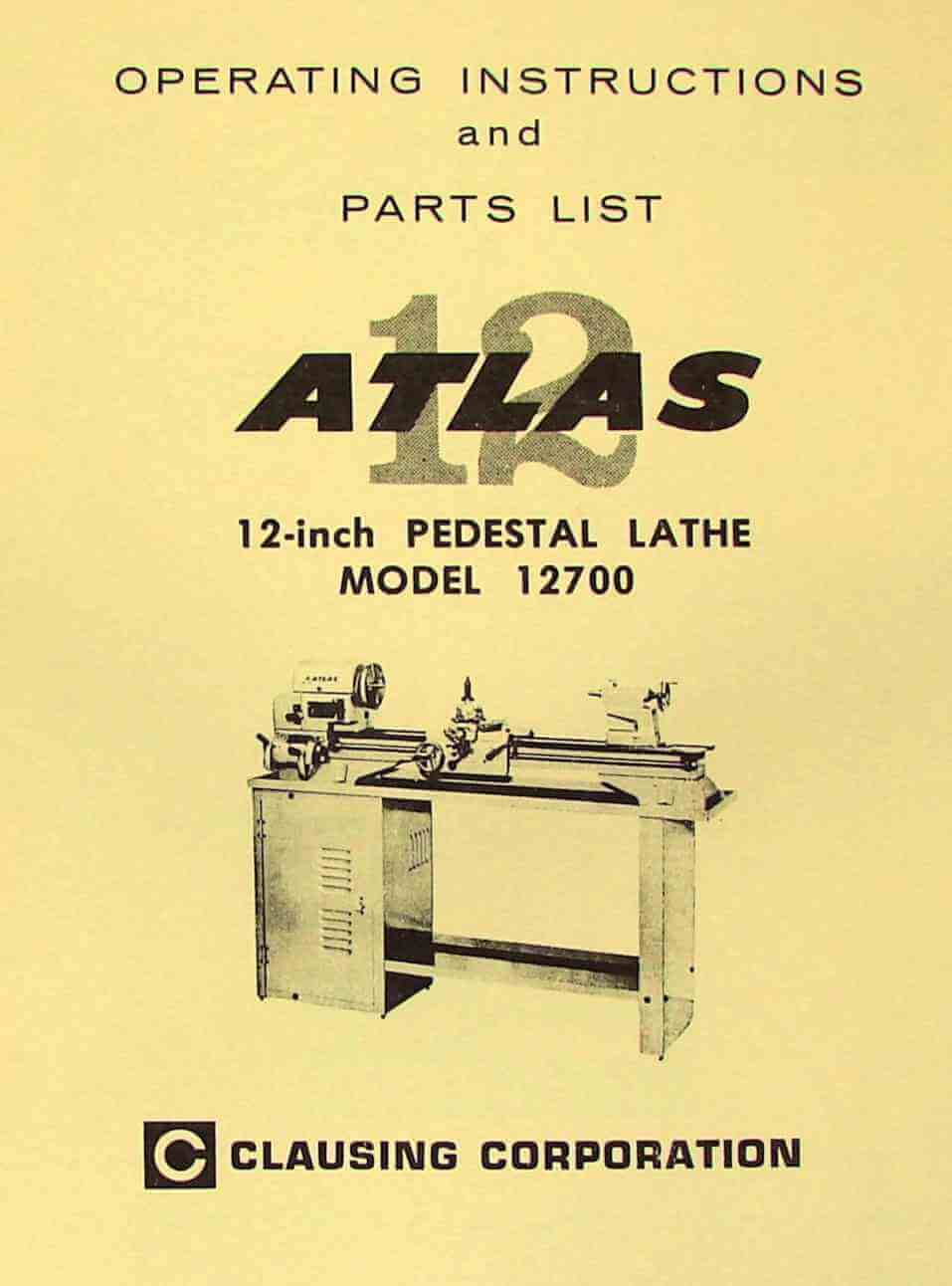 Atlas Sewing Machine Threading Diagram Clausing 12700 12 Pedestal Metal Lathe Instructions Parts Manual Ozark Tool Manuals Books