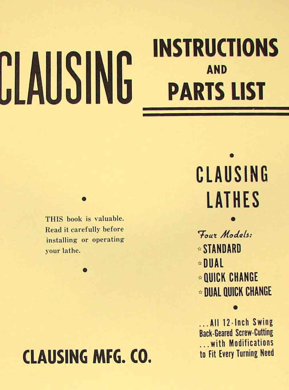 Clausing Atlas 12 100 Series Lathe Operators Instructions Parts Sewing Machine Threading Diagram Manual Ozark Tool Manuals Books