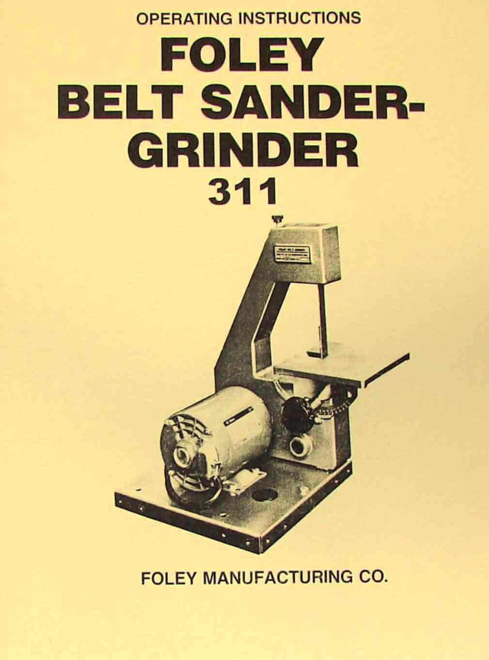 Pleasant Foley 311 Belt Sander Grinder Instructions Parts Manual Caraccident5 Cool Chair Designs And Ideas Caraccident5Info