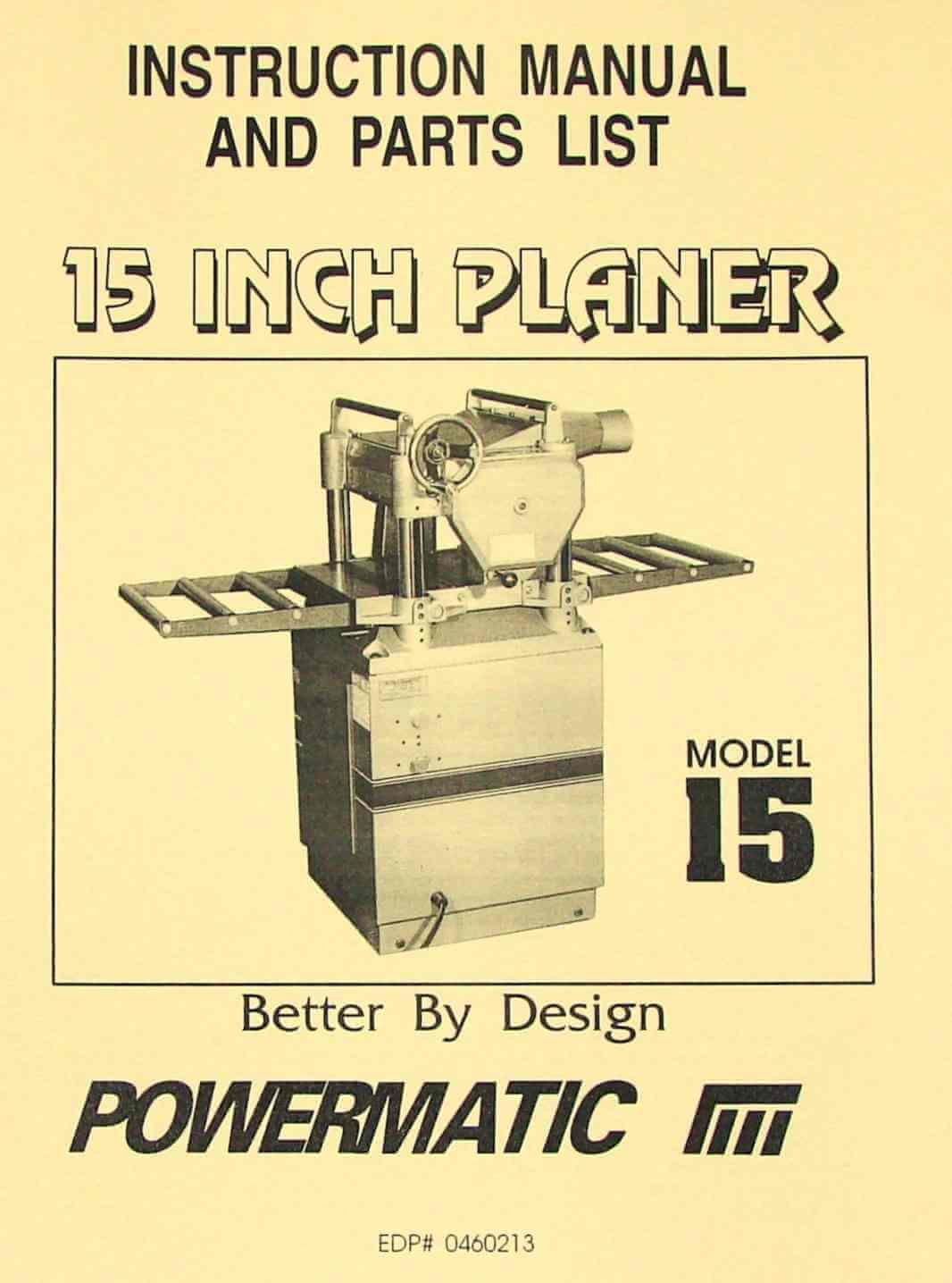 POWERMATIC Model 15 Wood Planer Instructions and Parts Manual | Ozark Tool Manuals & Books