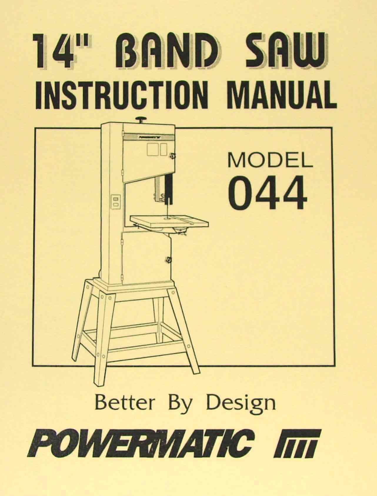 Powermatic Model 044 14 Wood Band Saw Instructions And Parts Manual