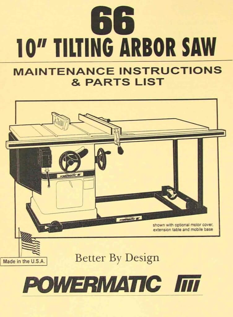 powermatic model 66 table saw instructions and parts