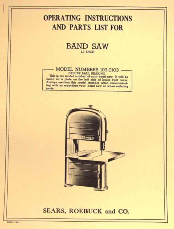 Craftsman 103 0103 12 Inch Band Saw Owner S Instructions