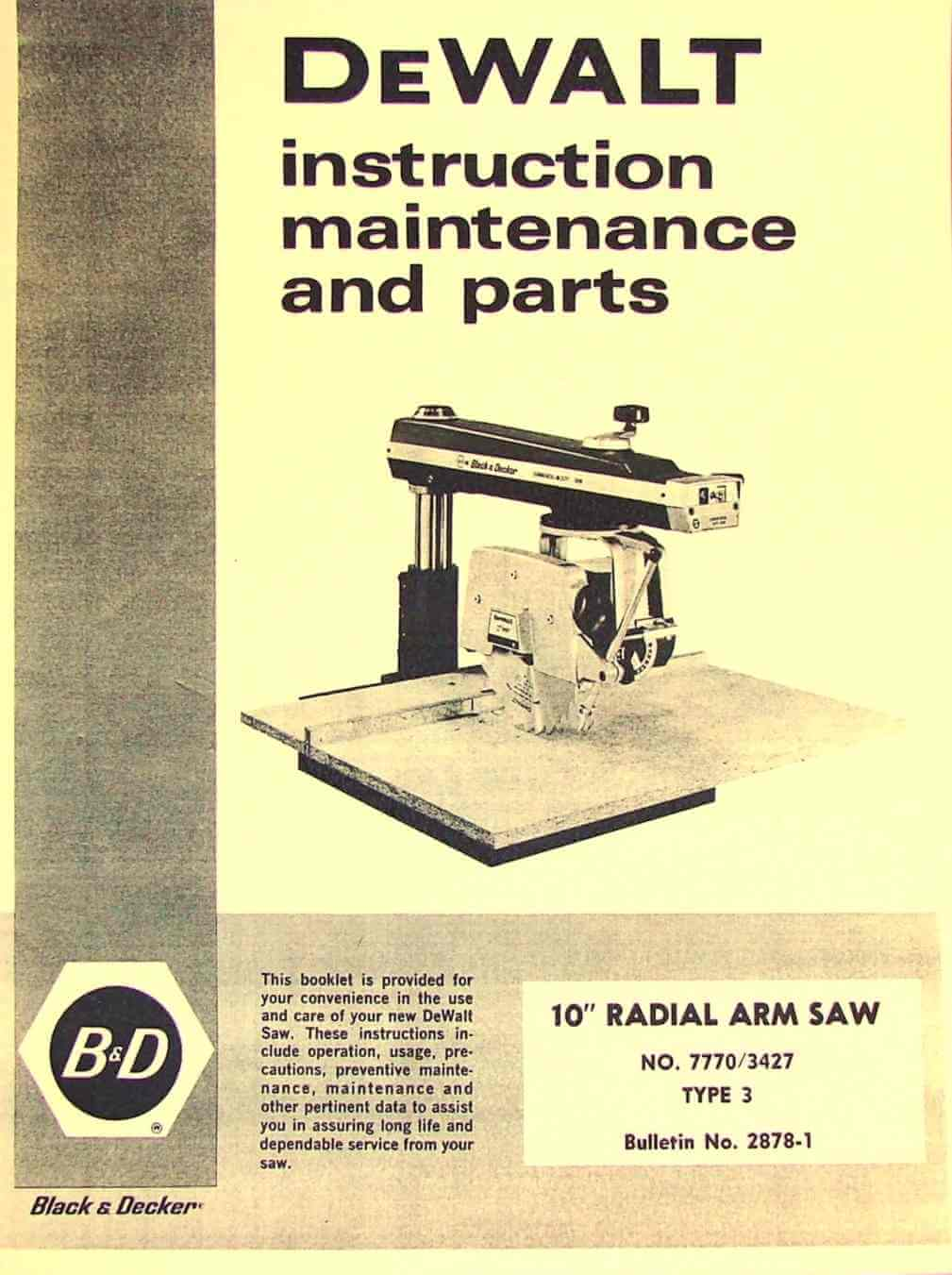 dewalt 7770 10-inch radial arm saw owner's instructions and parts manual