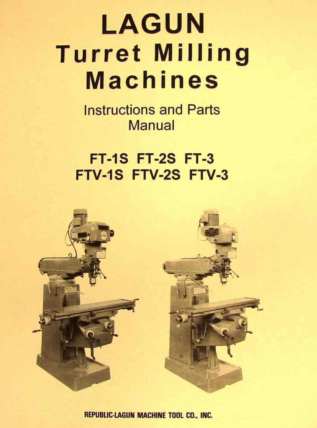 LAGUN FTV-1S FTV-2S FTV-3S Vertical Milling Machine Operator & Parts Manual  | Ozark Tool Manuals & Books