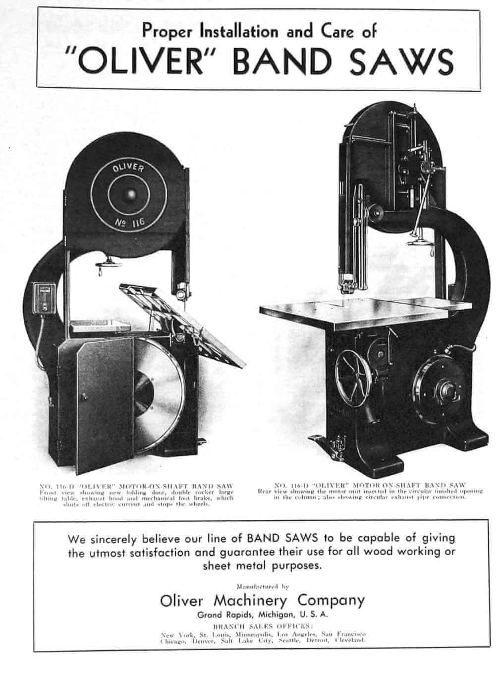 oliver nos  115  117  217 band saws care and operation