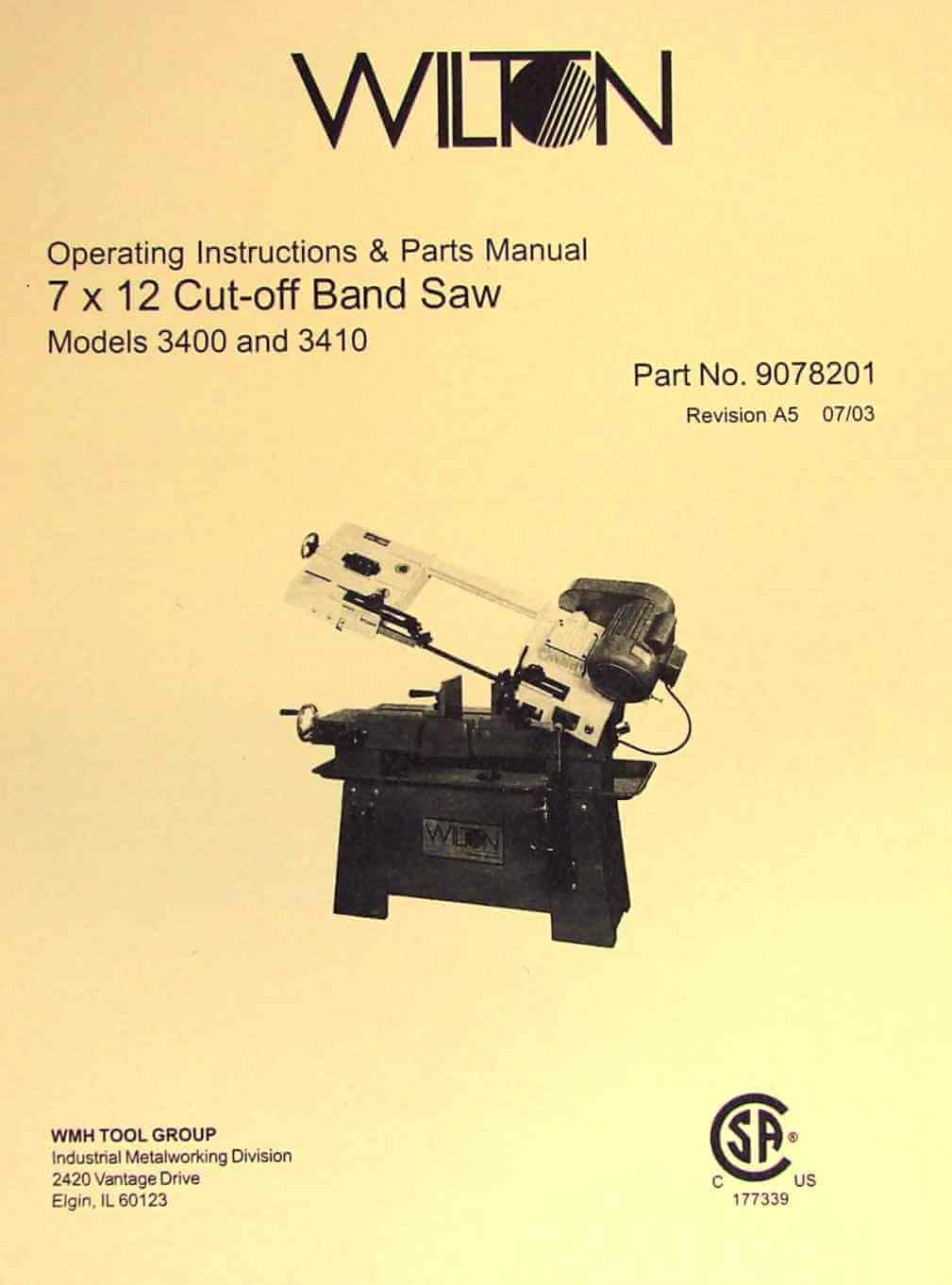 WILTON 3400 and 3410 7x12 Horizontal Band Saw Instructions and Parts Manual  | Ozark Tool Manuals & Books