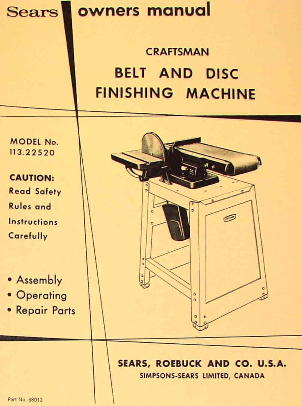 craftsman professional jointer manual
