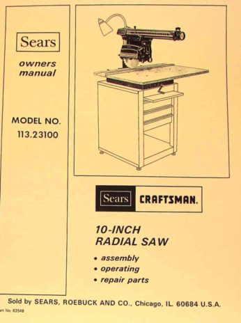 craftsman 10 radial arm saw owners instructions. Black Bedroom Furniture Sets. Home Design Ideas