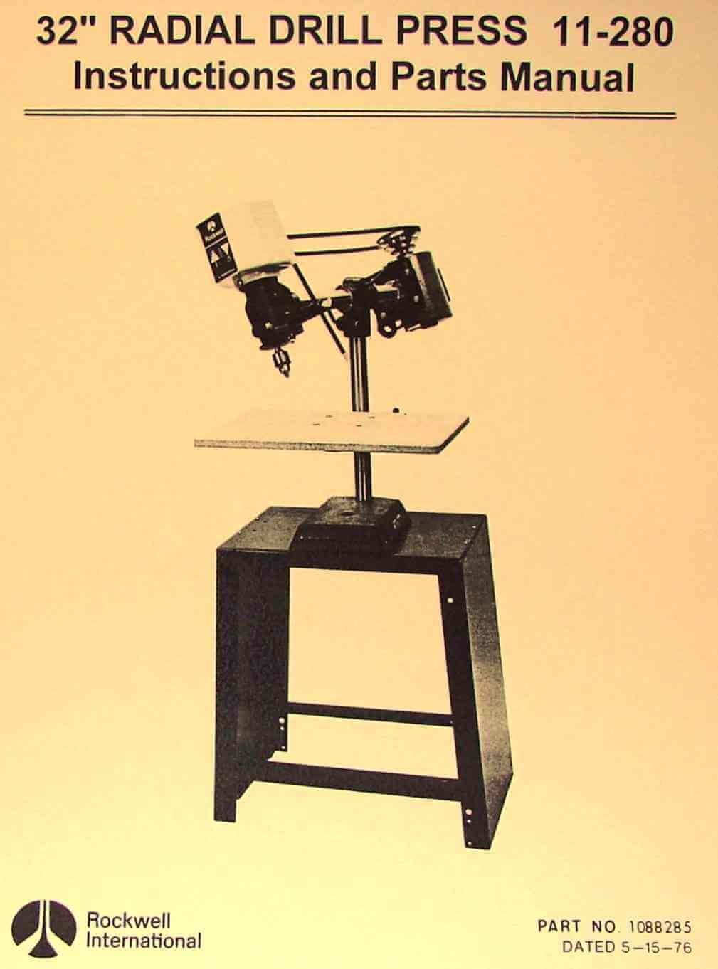 """ROCKWELL 32"""" Radial Drill Press 11-280 Owners Instructions & Parts Manual    Ozark Tool Manuals & Books"""