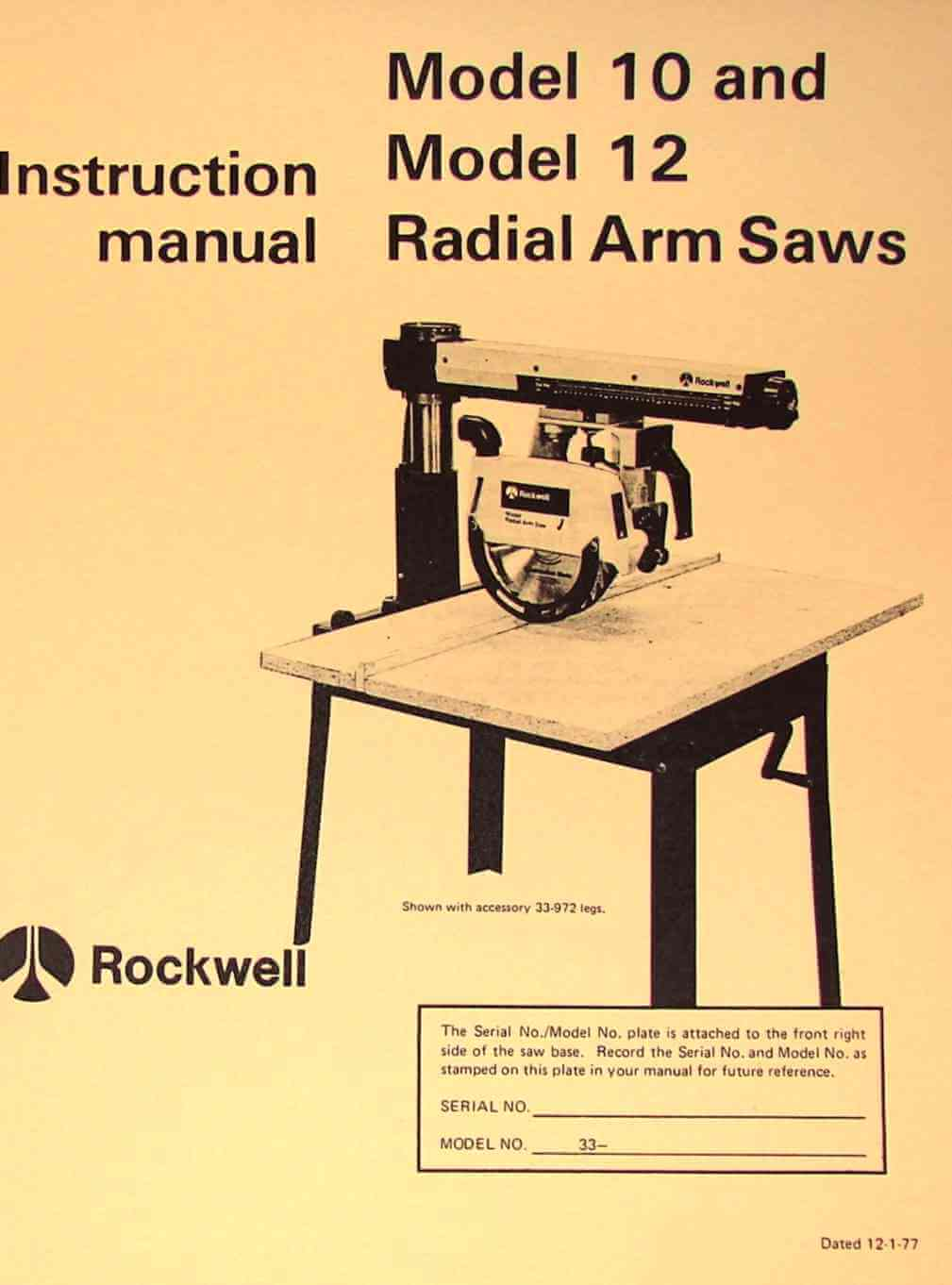 rockwell model 10 & 12 radial arm saws owners instructions & parts manual