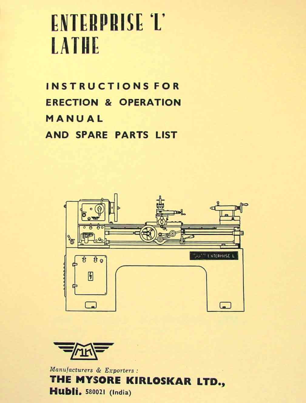 "Mysore Kirloskar L1 L2 Enterprise 15"" Lathe Instructions and Parts Manual 