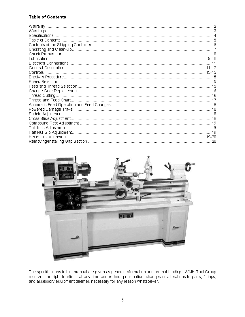 Jet Lathe Parts Wiring Diagram A Metal Owners Manual Ozark Tool 850x1100