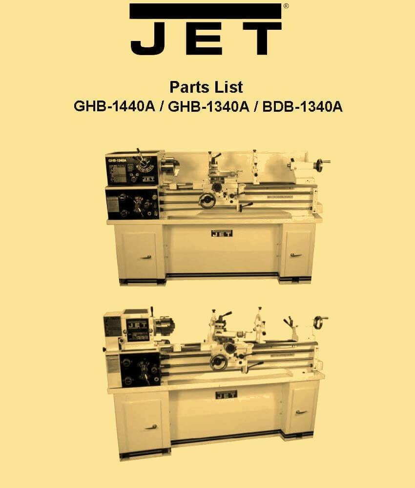 JET GHB-1340A, GHB-1440A, BDB-1340A Metal Lathe Parts Manual | Ozark Tool  Manuals & Books