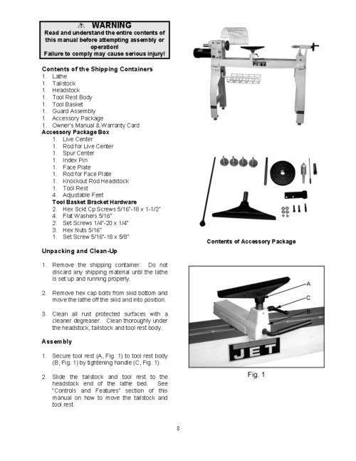 Jet Jwl 1642evs Wood Lathe Instructions Amp Parts Owner S