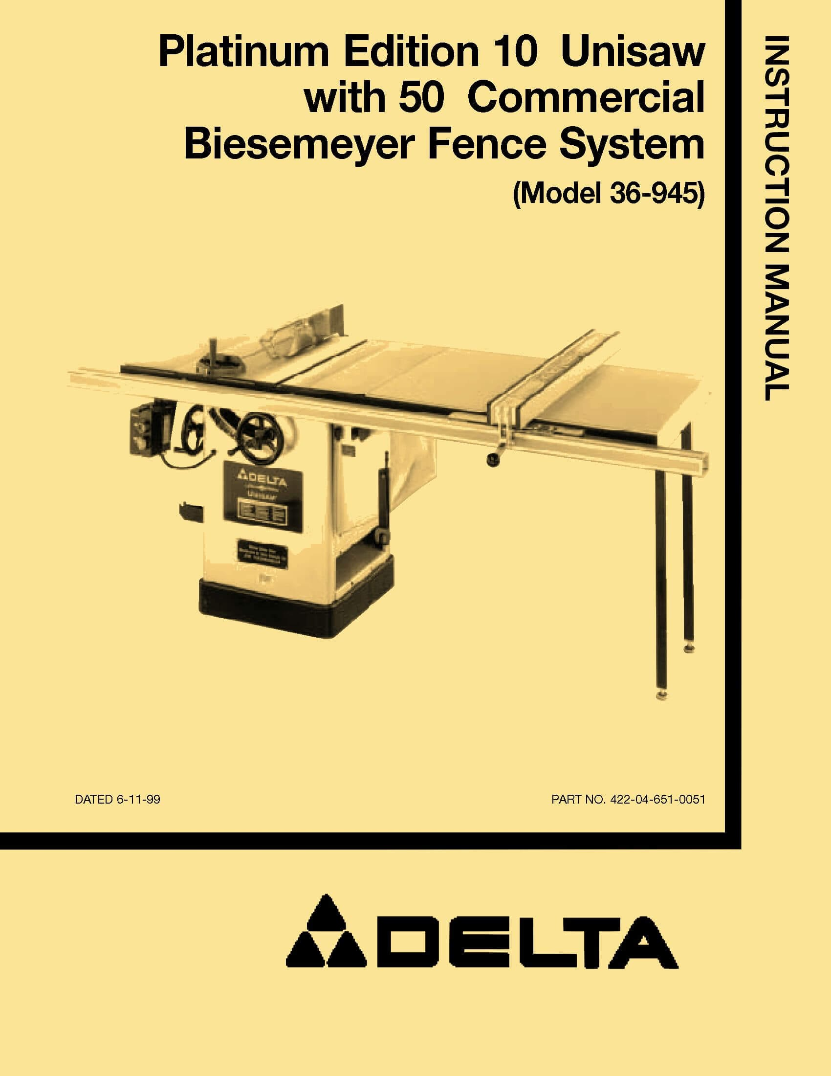Table Saw Wiring Manual Real Diagram Delta On Off Switch 36 945 10 Quot Unisaw Instructions Parts Craftsman