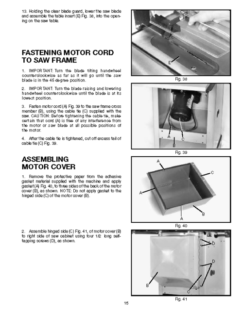 Delta 36 945 10 Quot Unisaw Table Saw Instructions Amp Parts