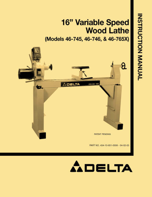 Delta 46 745 46 746 46 765x 16 Quot Variable Speed Wood