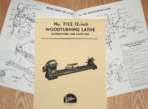 Atlas 7122 Wood Lathe Instruction & Parts Manual | Ozark Tool Manuals & Books