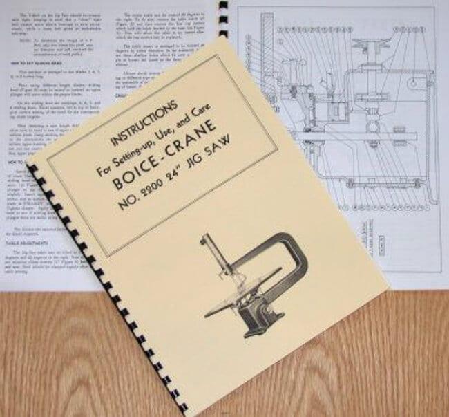 "BOICE CRANE 2200 24/"" Jig//Scroll Saw Instructions /& Part Manual 0066"