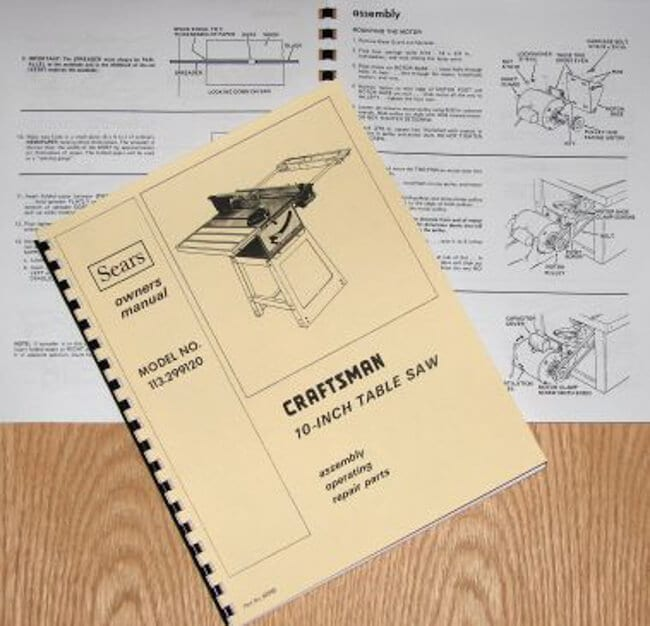 "CRAFTSMAN 10"" Table Saw 113.299120 Operator & Parts Manual 