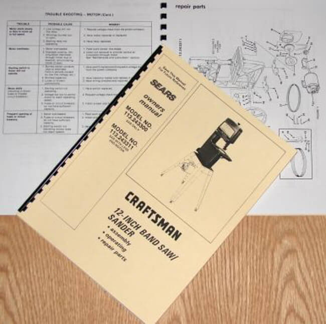 "CRAFTSMAN 113.243300 & 113.243311 12"" Band Saw Sander Operator Part Manual 