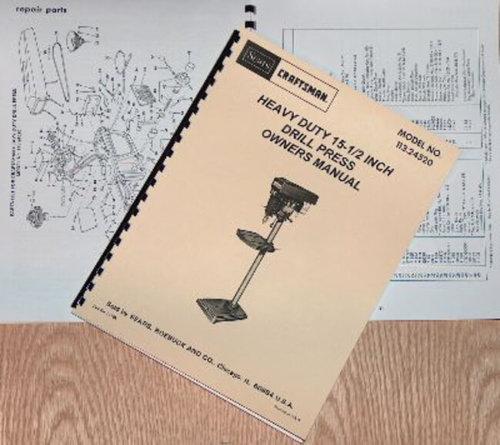 "CRAFTSMAN-SEARS 15"" 1/2 Heavy Duty Drill Press 113.24520 ..."