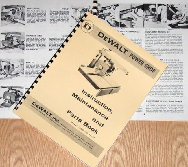 dewalt power shop 1200 & 1400 radial arm saw instructions & parts manual