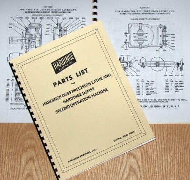 HARDINGE DV59 DSM59 Lathe Part Manual DV-59 DSM-59 on